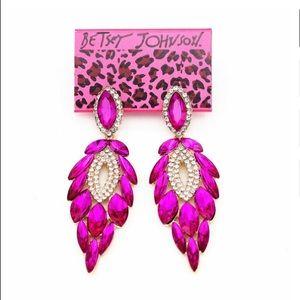 Betsey Johnson Fuchsia Crystal Earrings